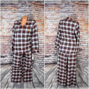 Lauren Ralph Medium Plaid 2 piece Pajamas Set Red